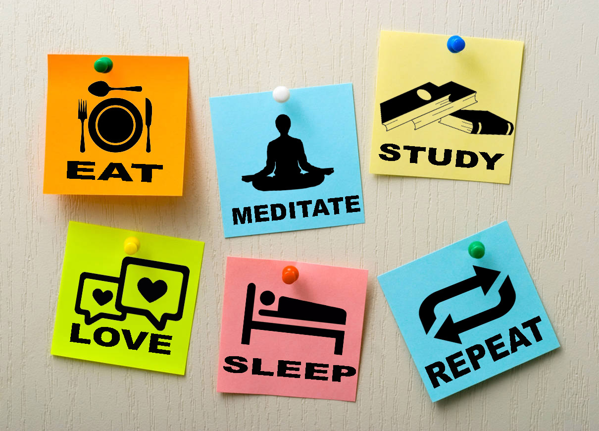 Rituals- eat meditate study love sleep repeat